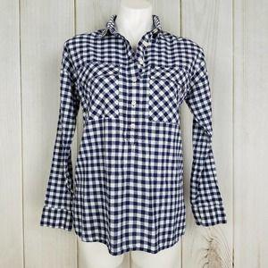 Old Navy Blue Gingham Plaid Boyfriend Shirt